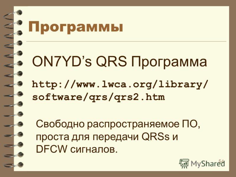 54 Программы ON7YDs QRS Программа http://www.lwca.org/library/ software/qrs/qrs2.htm Свободно распространяемое ПО, проста для передачи QRSs и DFCW сигналов.
