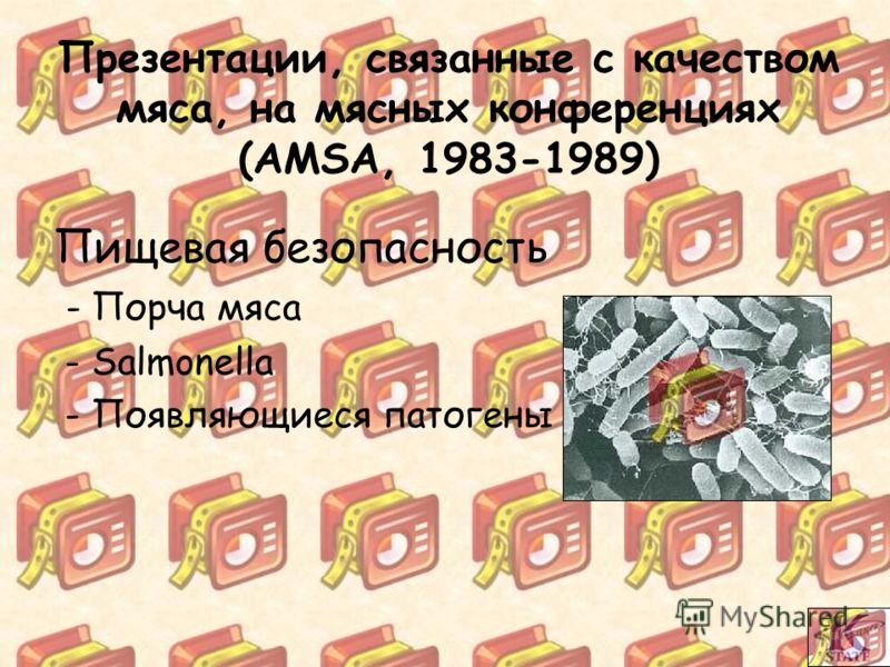 Презентации, связанные с качеством мяса, на мясных конференциях (AMSA, 1983-1989) Пищевая безопасность - Порча мяса - Salmonella - Появляющиеся патогены