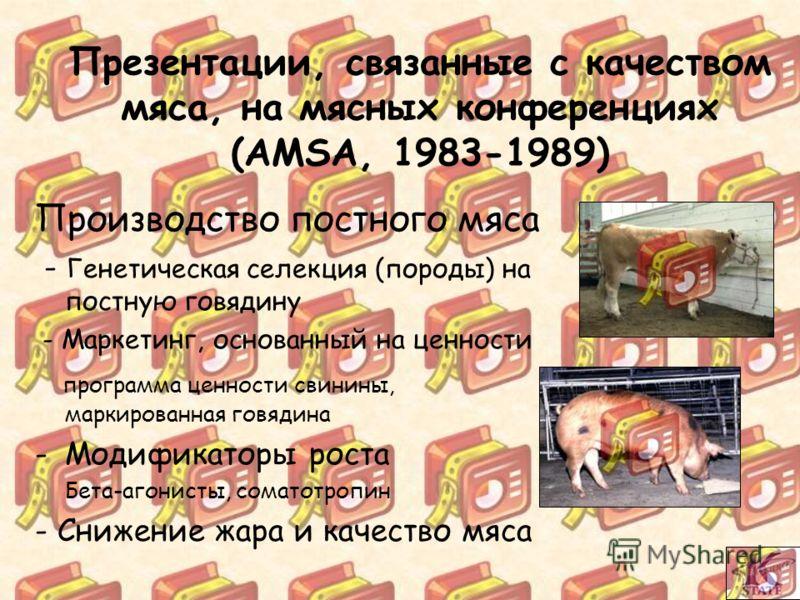 Производство постного мяса - Генетическая селекция (породы) на постную говядину - Маркетинг, основанный на ценности программа ценности свинины, маркированная говядина -Модификаторы роста Бета-агонисты, соматотропин - Снижение жара и качество мяса Пре