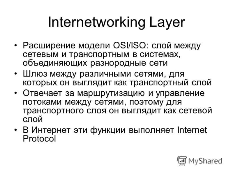 Internetworking Layer Расширение модели OSI/ISO: слой между сетевым и транспортным в системах, объединяющих разнородные сети Шлюз между различными сетями, для которых он выглядит как транспортный слой Отвечает за маршрутизацию и управление потоками м