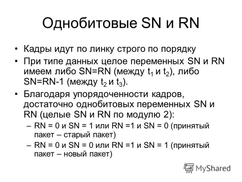 Однобитовые SN и RN Кадры идут по линку строго по порядку При типе данных целое переменных SN и RN имеем либо SN=RN (между t 1 и t 2 ), либо SN=RN-1 (между t 2 и t 3 ). Благодаря упорядоченности кадров, достаточно однобитовых переменных SN и RN (целы