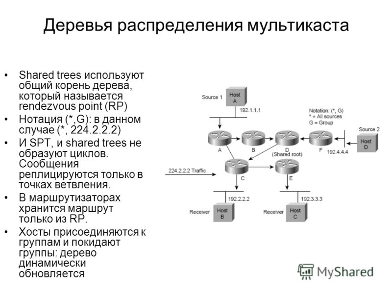 Деревья распределения мультикаста Shared trees используют общий корень дерева, который называется rendezvous point (RP) Нотация (*,G): в данном случае (*, 224.2.2.2) И SPT, и shared trees не образуют циклов. Сообщения реплицируются только в точках ве