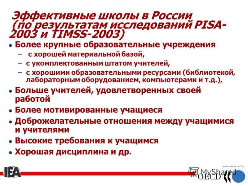 24 Эффективные школы в России (по результатам исследований PISA- 2003 и TIMSS-2003) Более крупные образовательные учреждения – с хорошей материальной базой, –c укомплектованным штатом учителей, –c хорошими образовательными ресурсами (библиотекой, лаб