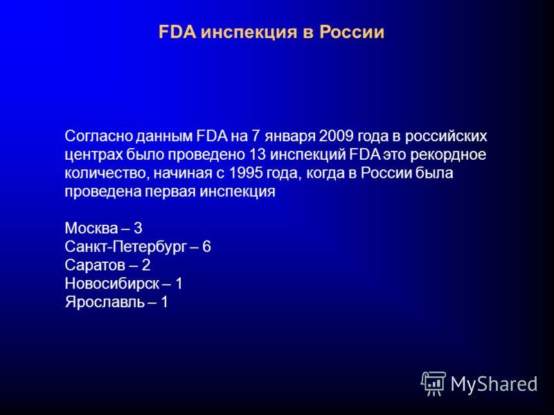 FDA инспекция в России Согласно данным FDA на 7 января 2009 года в российских центрах было проведено 13 инспекций FDA это рекордное количество, начиная с 1995 года, когда в России была проведена первая инспекция Москва – 3 Санкт-Петербург – 6 Саратов
