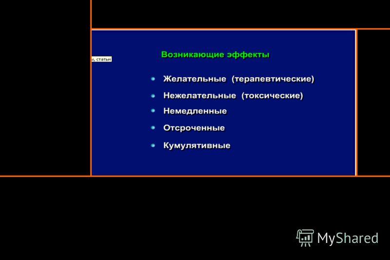 Лекарственные препараты Терапевтические эффекты Побочные эффекты