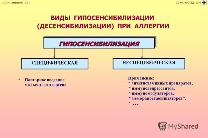 ВИДЫ ГИПОСЕНСИБИЛИЗАЦИИ (ДЕСЕНСИБИЛИЗАЦИИ) ПРИ АЛЛЕРГИИ Применение: *Повторное введение * антигистаминных препаратов, малых доз аллергена * иммунодепрессантов, * иммуномодуляторов, * мембраностабилизаторов, *... ГИПОСЕНСИБИЛИЗАЦИЯ СПЕЦИФИЧЕСКАЯ НЕСПЕ