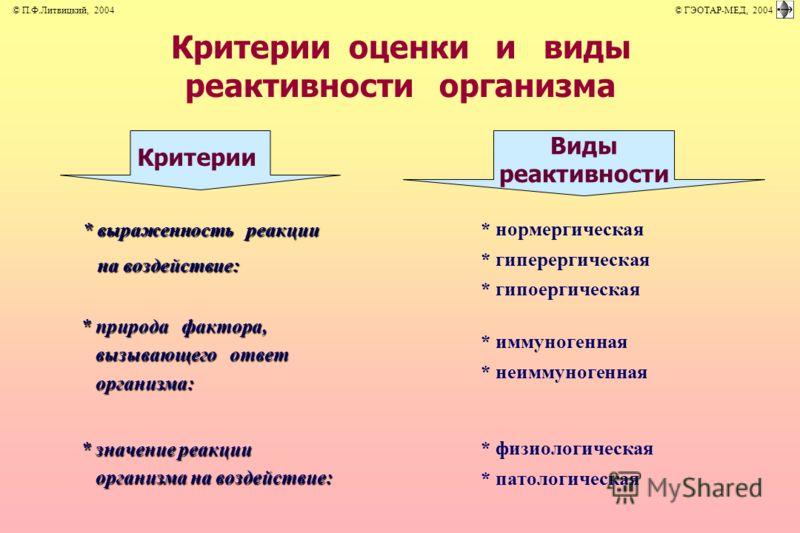 Критерии Виды реактивности * выраженность реакции на воздействие: на воздействие: * природа фактора, вызывающего ответ вызывающего ответ организма: организма: * значение реакции организма на воздействие: организма на воздействие: * нормергическая * и