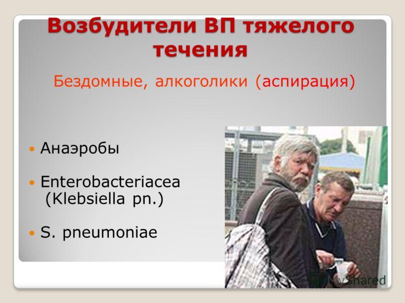 Возбудители ВП тяжелого течения Бездомные, алкоголики (аспирация) Анаэробы Enterobacteriacea (Klebsiella pn.) S. pneumoniae