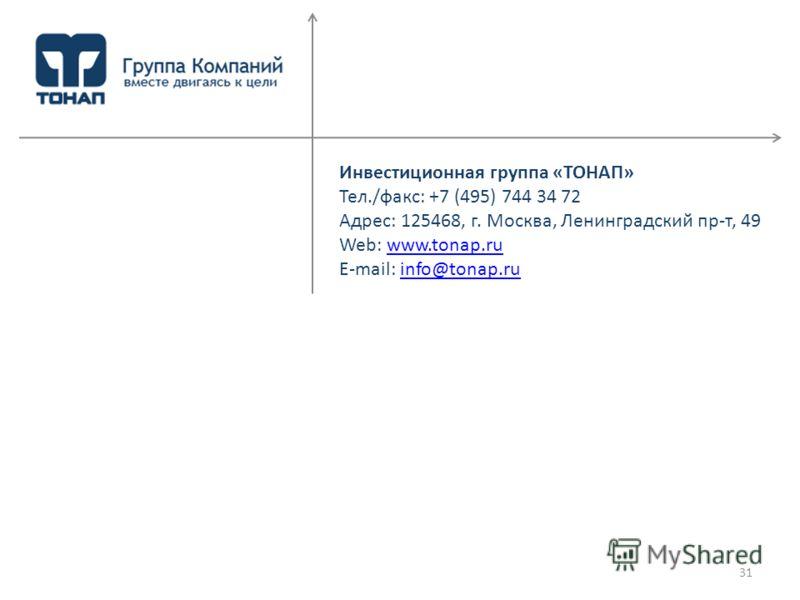 Инвестиционная группа «ТОНАП» Тел./факс: +7 (495) 744 34 72 Адрес: 125468, г. Москва, Ленинградский пр-т, 49 Web: www.tonap.ruwww.tonap.ru E-mail: info@tonap.ruinfo@tonap.ru 31