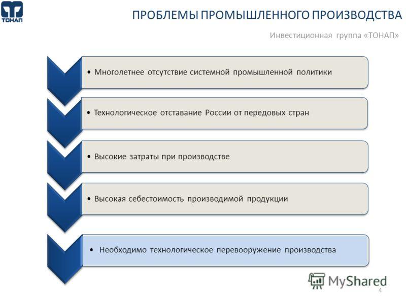 Многолетнее отсутствие системной промышленной политикиТехнологическое отставание России от передовых странВысокие затраты при производствеВысокая себестоимость производимой продукции 4 ПРОБЛЕМЫ ПРОМЫШЛЕННОГО ПРОИЗВОДСТВА Инвестиционная группа «ТОНАП»