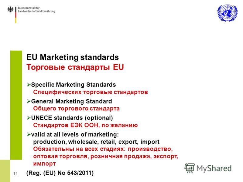 11 EU Marketing standards Торговые стандарты EU Specific Marketing Standards Специфических торговые стандартов General Marketing Standard Общего торгового стандарта UNECE standards (optional) Стандартов ЕЭК ООН, по желанию valid at all levels of mark