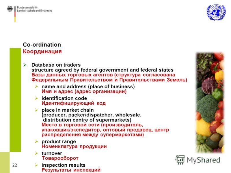 22 Co-ordination Координация Database on traders structure agreed by federal government and federal states Базы данных торговых агентов (структура согласована Федеральным Правительством и Правительствами Земель) name and address (place of business) И