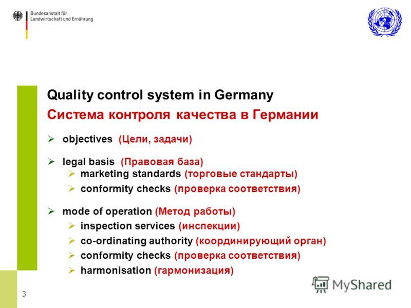 3 Quality control system in Germany Система контроля качества в Германии objectives (Цели, задачи) legal basis (Правовая база) marketing standards (торговые стандарты) conformity checks (проверка соответствия) mode of operation (Метод работы) inspect