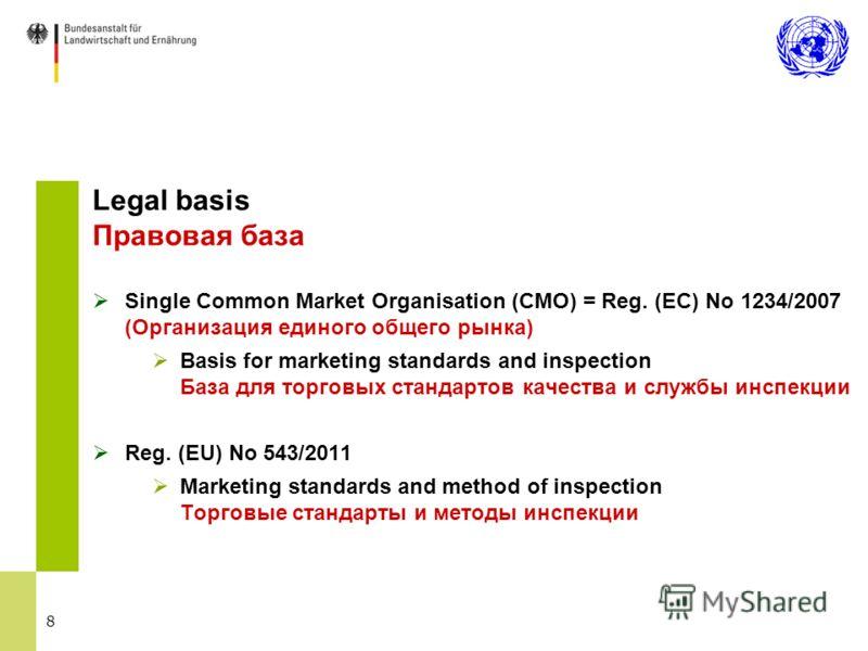 8 Legal basis Правовая база Single Common Market Organisation (CMO) = Reg. (EC) No 1234/2007 (Организация единого общего рынка) Basis for marketing standards and inspection База для торговых стандартов качества и службы инспекции Reg. (EU) No 543/201
