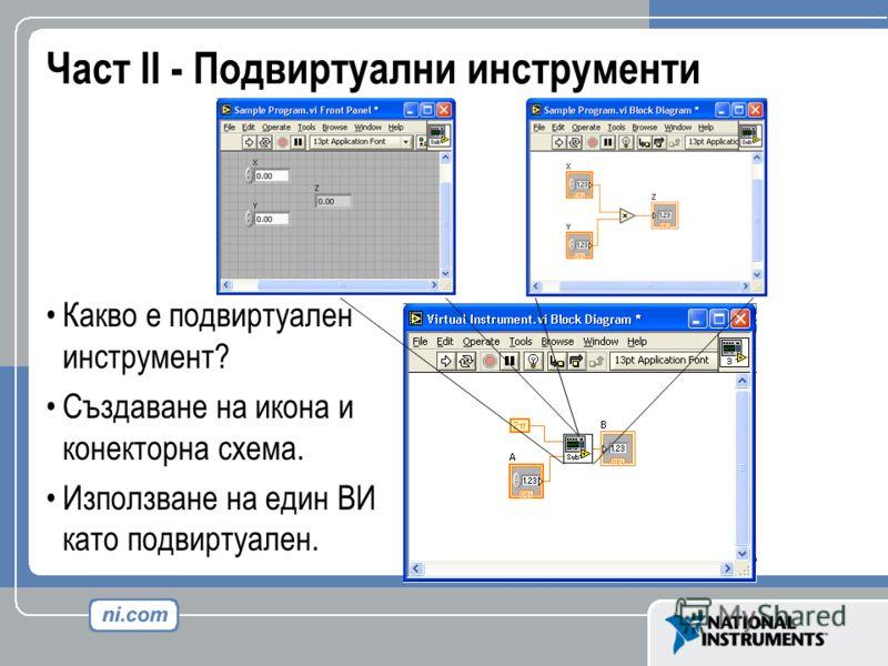 Част II - Подвиртуални инструменти Какво е подвиртуален инструмент? Създаване на икона и конекторна схема. Използване на един ВИ като подвиртуален.