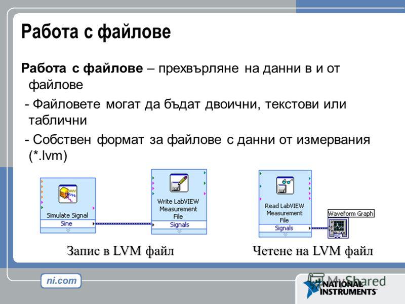 Работа с файлове Работа с файлове – прехвърляне на данни в и от файлове - Файловете могат да бъдат двоични, текстови или таблични - Собствен формат за файлове с данни от измервания (*.lvm) Запис в LVM файл Четене на LVM файл