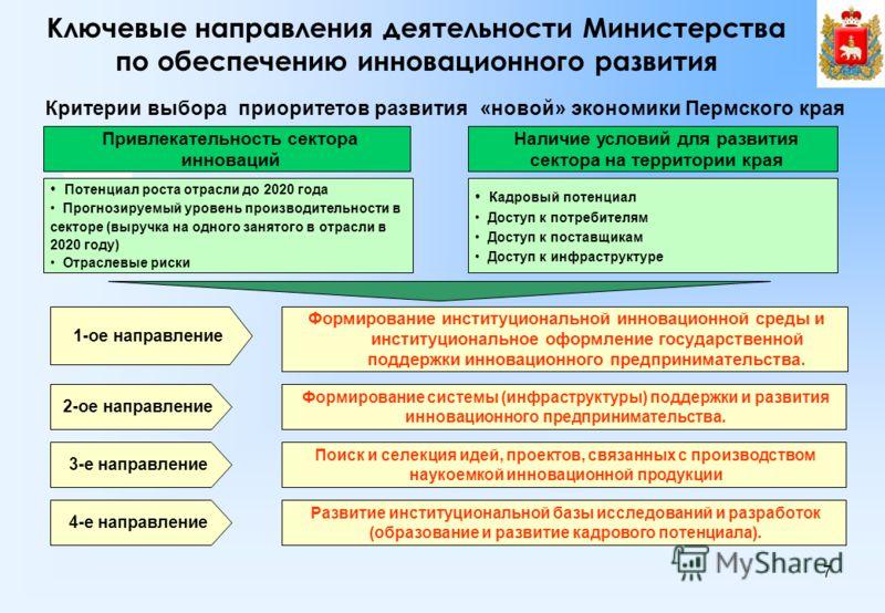 7 Ключевые направления деятельности Министерства по обеспечению инновационного развития Привлекательность сектора инноваций Потенциал роста отрасли до 2020 года Прогнозируемый уровень производительности в секторе (выручка на одного занятого в отрасли