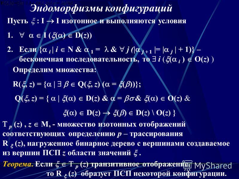 р (z), z M, - множество изотонных отображений соответствующих определению р – трассирования R (z), нагруженное бинарное дерево с вершинами создаваемое из вершин ПСП z области значений. Эндоморфизмы конфигураций Теорема. Если р (z) транзитивное отобра