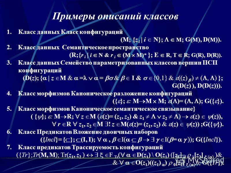 Примеры описаний классов 1.Класс данных Класс конфигураций (M; {z i | i N}; M ; G( M ), D( M )). 2. Класс данных Семантическое пространство} (R;{ r i | i N & r i ( M M)* }; E R, T R; G(R), D(R)). 3. Класс данных Семейство параметризованных классов ве