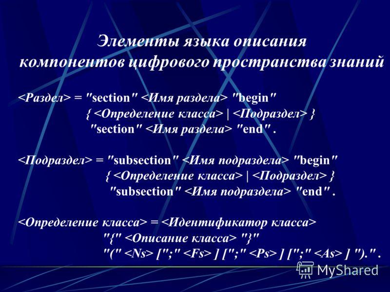 Элементы языка описания компонентов цифрового пространства знаний = section begin {   } section end. = subsection begin {   } subsection end. = { } ( [; ] [; ] [; ] )..