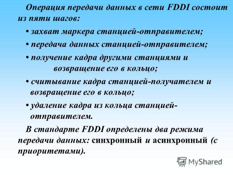Операция передачи данных в сети FDDI состоит из пяти шагов: захват маркера станцией-отправителем; передача данных станцией-отправителем; получение кадра другими станциями и возвращение его в кольцо; считывание кадра станцией-получателем и возвращение