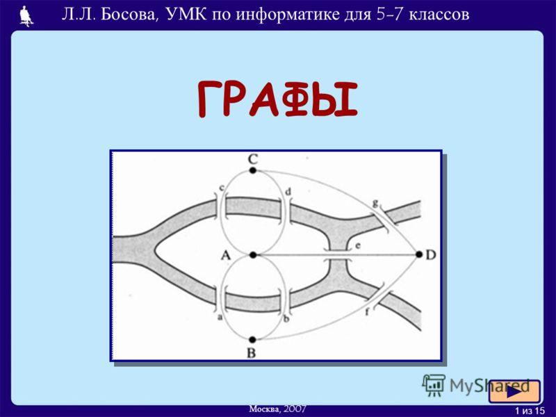 1 из 15 ГРАФЫ Л.Л. Босова, УМК по информатике для 5-7 классов Москва, 2007