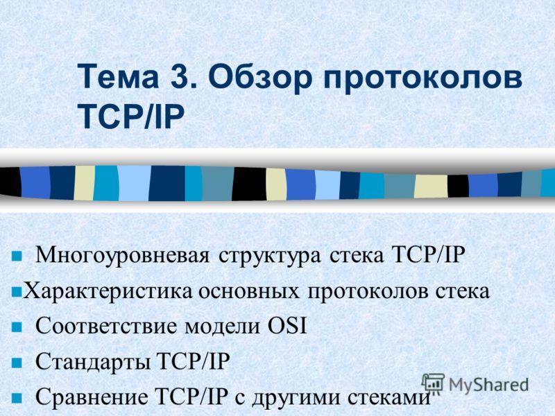 Тема 3. Обзор протоколов TCP/IP Многоуровневая структура стека TCP/IP n Характеристика основных протоколов стека Соответствие модели OSI Стандарты TCP/IP Сравнение TCP/IP с другими стеками