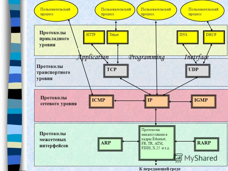К передающей среде Протоколы межсетевых интерфейсов RARP Протоколы инкапсуляции в кадры Ethernet, FR, TR, ATM, FDDI, X.25 и т.д. ARP TCPUDP Протоколы транспортного уровня IGMPIPICMP HTTP Протоколы прикладного уровня TelnetDHCPDNS Пользовательский про