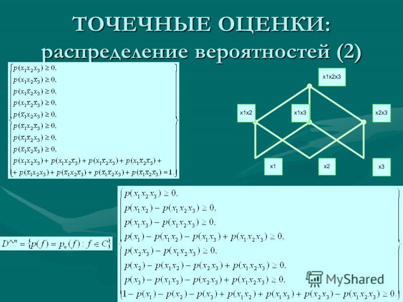 ТОЧЕЧНЫЕ ОЦЕНКИ: распределение вероятностей (2)