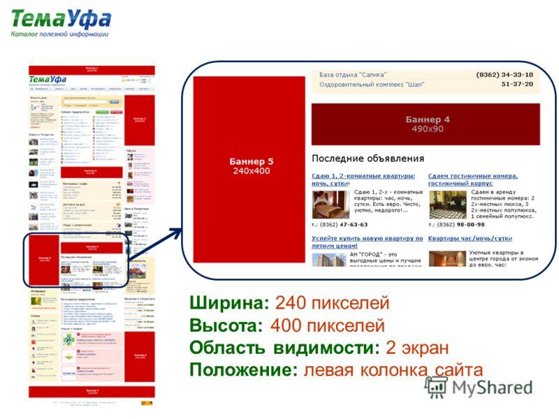 Ширина: 240 пикселей Высота: 400 пикселей Область видимости: 2 экран Положение: левая колонка сайта