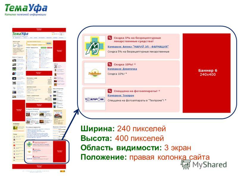 Ширина: 240 пикселей Высота: 400 пикселей Область видимости: 3 экран Положение: правая колонка сайта