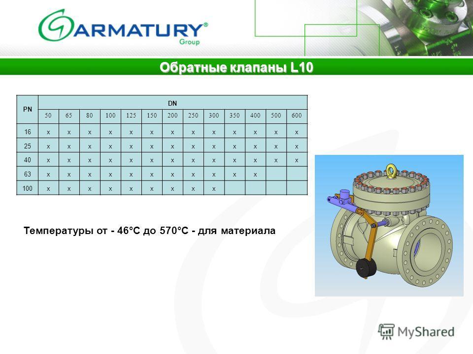 Обратные клапаны L10 PN DN 506580100125150200250300350400500600 16xxxxxxxxxxxxx 25xxxxxxxxxxxxx 40xxxxxxxxxxxxx 63xxxxxxxxxxx 100xxxxxxxxx Температуры от - 46°C до 570°C - для материала
