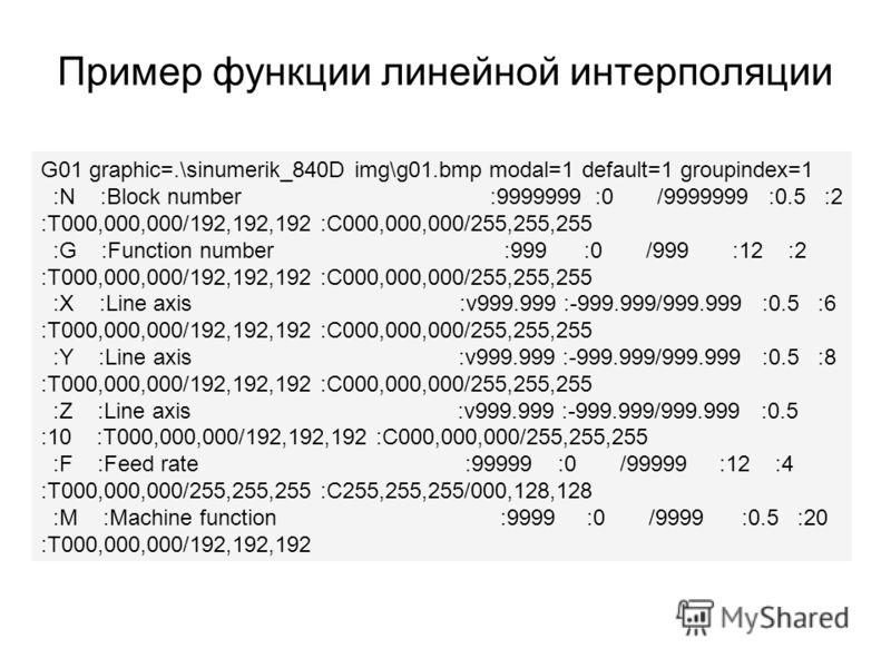 Пример функции линейной интерполяции G01 graphic=.\sinumerik_840D img\g01.bmp modal=1 default=1 groupindex=1 :N :Block number :9999999 :0 /9999999 :0.5 :2 :T000,000,000/192,192,192 :C000,000,000/255,255,255 :G :Function number :999 :0 /999 :12 :2 :T0