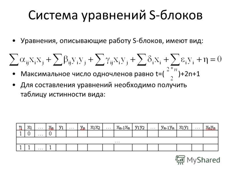 Система уравнений S-блоков Уравнения, описывающие работу S-блоков, имеют вид: Максимальное число одночленов равно t=( )+2n+1 Для составления уравнений необходимо получить таблицу истинности вида: