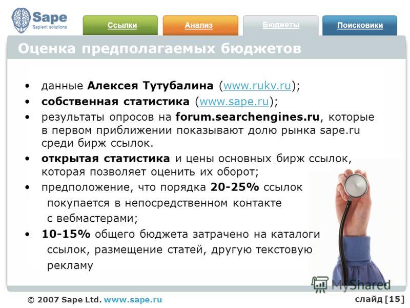 СсылкиАнализ Бюджеты Поисковики © 2007 Sape Ltd. www.sape.ru Оценка предполагаемых бюджетов данные Алексея Тутубалина (www.rukv.ru); собственная статистика (www.sape.ru); результаты опросов на forum.searchengines.ru, которые в первом приближении пока
