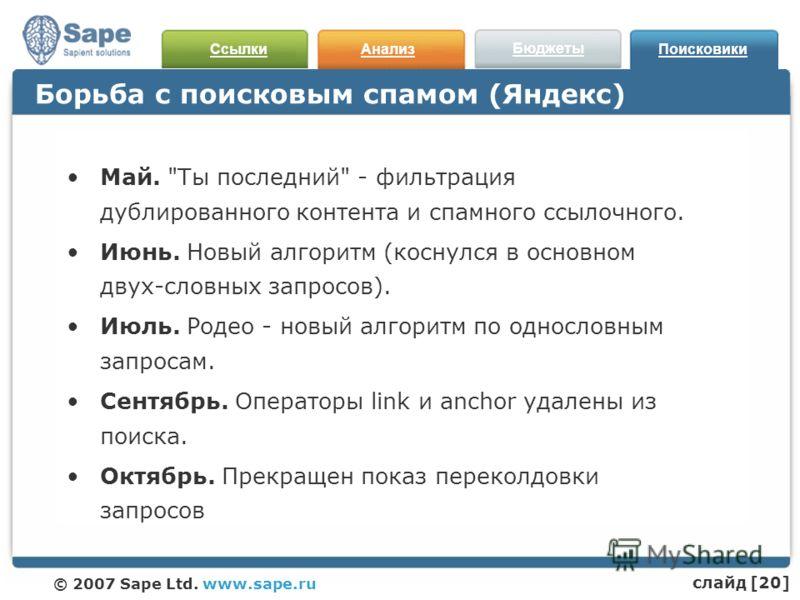 СсылкиАнализ Бюджеты Поисковики © 2007 Sape Ltd. www.sape.ru Борьба с поисковым спамом (Яндекс) Май.