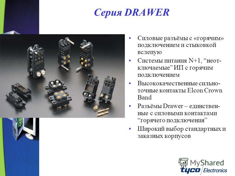Серия DRAWER Силовые разъёмы с «горячим» подключением и стыковкой вслепую Системы питания N+1, неот- ключаемые ИП с горячим подключением Высококачественные сильно- точные контакты Elcon Crown Band Разъёмы Drawer – единствен- ные с силовыми контактами