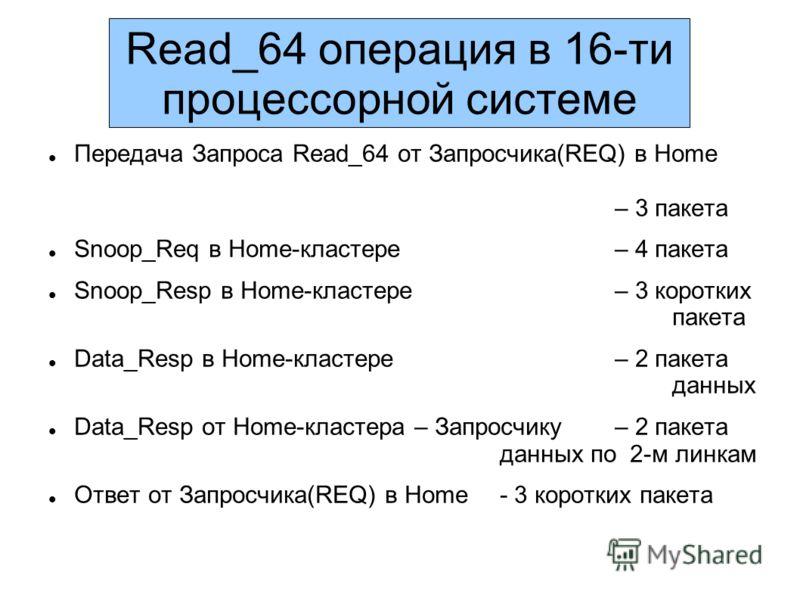 Read_64 операция в 16-ти процессорной системе Передача Запроса Read_64 от Запросчика(REQ) в Home – 3 пакета Snoop_Req в Home-кластере – 4 пакета Snoop_Resp в Home-кластере – 3 коротких пакета Data_Resp в Home-кластере – 2 пакета данных Data_Resp от H