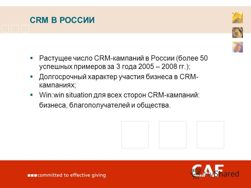 CRM В РОССИИ Растущее число CRM-кампаний в России (более 50 успешных примеров за 3 года 2005 – 2008 гг.); Долгосрочный характер участия бизнеса в CRM- кампаниях; Win:win situation для всех сторон CRM-кампаний: бизнеса, благополучателей и общества.