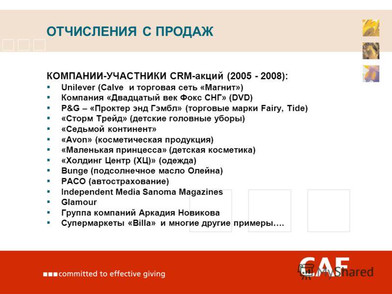 ОТЧИСЛЕНИЯ С ПРОДАЖ КОМПАНИИ-УЧАСТНИКИ CRM-акций (2005 - 2008): Unilever (Calve и торговая сеть «Магнит») Компания «Двадцатый век Фокс СНГ» (DVD) P&G – «Проктер энд Гэмбл» (торговые марки Fairy, Tide) «Сторм Трейд» (детские головные уборы) «Седьмой к