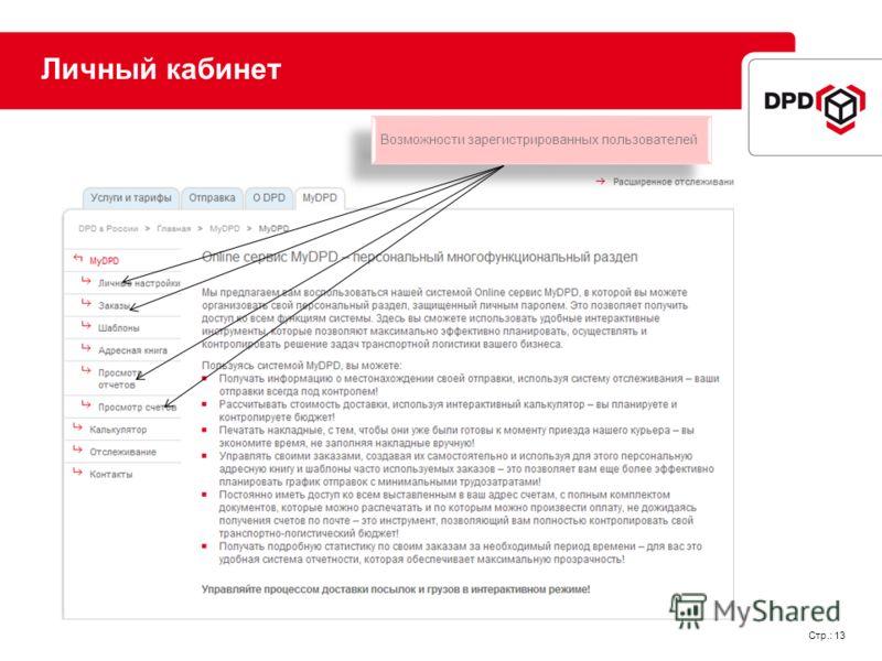 Стр.: 13 Личный кабинет Возможности зарегистрированных пользователей