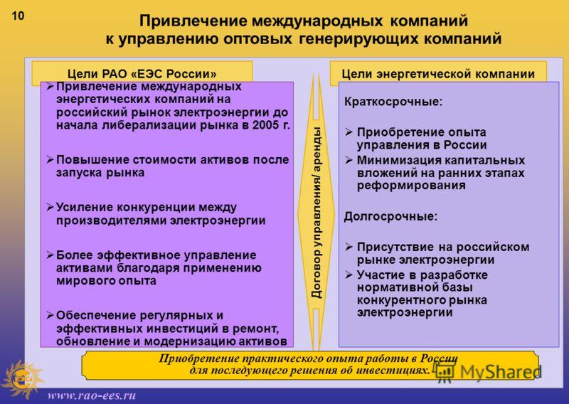 www.rao-ees.ru 10 Цели энергетической компанииЦели РАО «ЕЭС России» Привлечение международных энергетических компаний на российский рынок электроэнергии до начала либерализации рынка в 2005 г. Повышение стоимости активов после запуска рынка Усиление