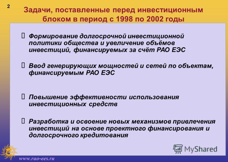 www.rao-ees.ru 2 Задачи, поставленные перед инвестиционным блоком в период с 1998 по 2002 годы Формирование долгосрочной инвестиционной политики общества и увеличение объёмов инвестиций, финансируемых за счёт РАО ЕЭС Ввод генерирующих мощностей и сет
