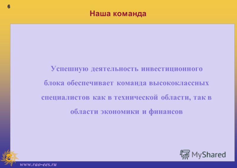 www.rao-ees.ru 6 Наша команда Успешную деятельность инвестиционного блока обеспечивает команда высококлассных специалистов как в технической области, так в области экономики и финансов