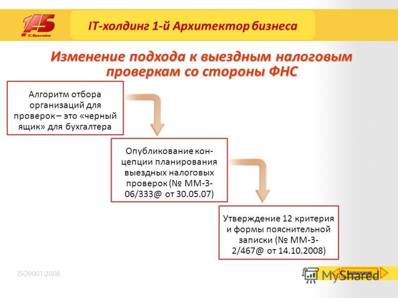 Изменение подхода к выездным налоговым проверкам со стороны ФНС Алгоритм отбора организаций для проверок – это «черный ящик» для бухгалтера Опубликование кон- цепции планирования выездных налоговых проверок ( ММ-3- 06/333@ от 30.05.07) Утверждение 12