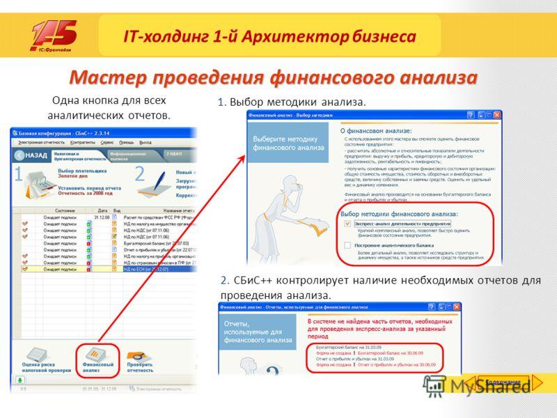 Мастер проведения финансового анализа Одна кнопка для всех аналитических отчетов. 1. Выбор методики анализа. 2. СБиС++ контролирует наличие необходимых отчетов для проведения анализа. Содержание IT-холдинг 1-й Архитектор бизнеса