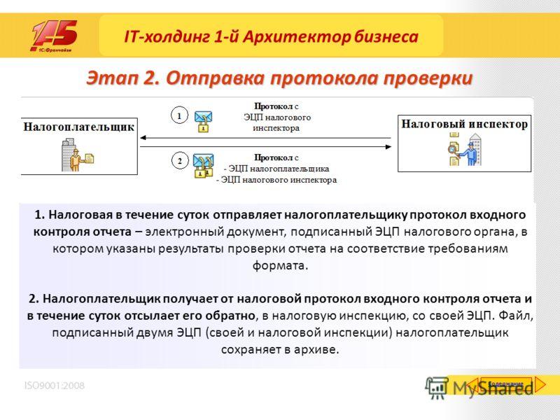 Этап 2. Отправка протокола проверки 1. Налоговая в течение суток отправляет налогоплательщику протокол входного контроля отчета – электронный документ, подписанный ЭЦП налогового органа, в котором указаны результаты проверки отчета на соответствие тр