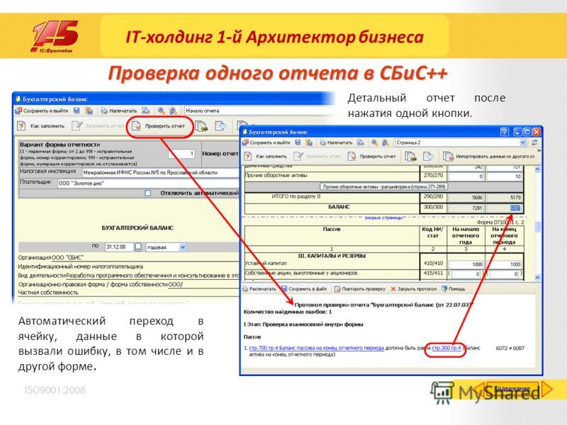 Проверка одного отчета в СБиС++ Детальный отчет после нажатия одной кнопки. Автоматический переход в ячейку, данные в которой вызвали ошибку, в том числе и в другой форме. Содержание IT-холдинг 1-й Архитектор бизнеса