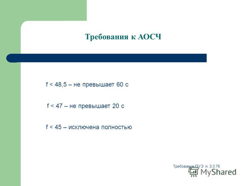 Требования к АОСЧ f < 45 – исключена полностью f < 47 – не превышает 20 с f < 48,5 – не превышает 60 с Требование ПУЭ п. 3.3.76