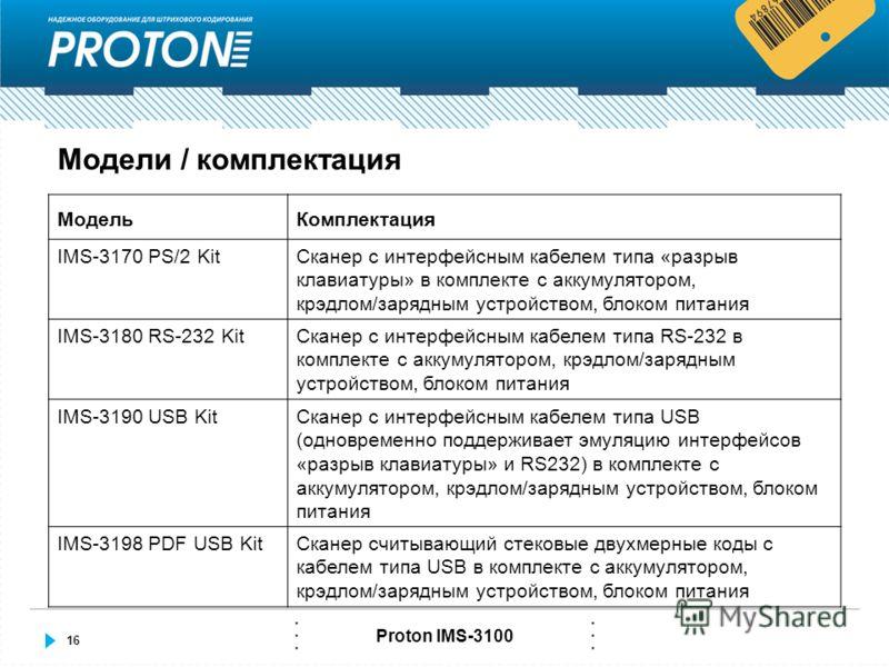 16 Proton IMS-3100 Модели / комплектация МодельКомплектация IMS-3170 PS/2 KitСканер с интерфейсным кабелем типа «разрыв клавиатуры» в комплекте с аккумулятором, крэдлом/зарядным устройством, блоком питания IMS-3180 RS-232 KitСканер с интерфейсным каб